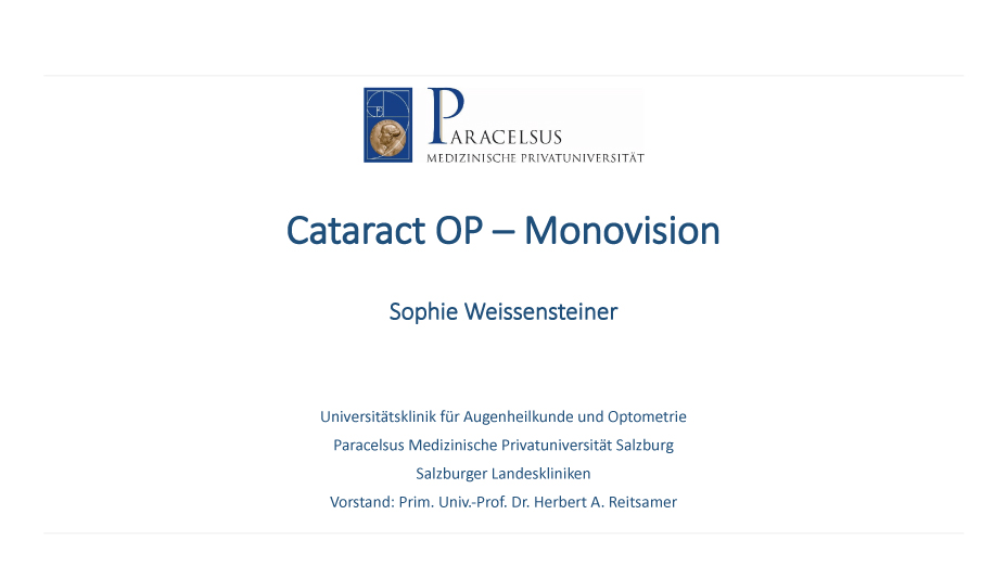 Cataract OP – Monovision