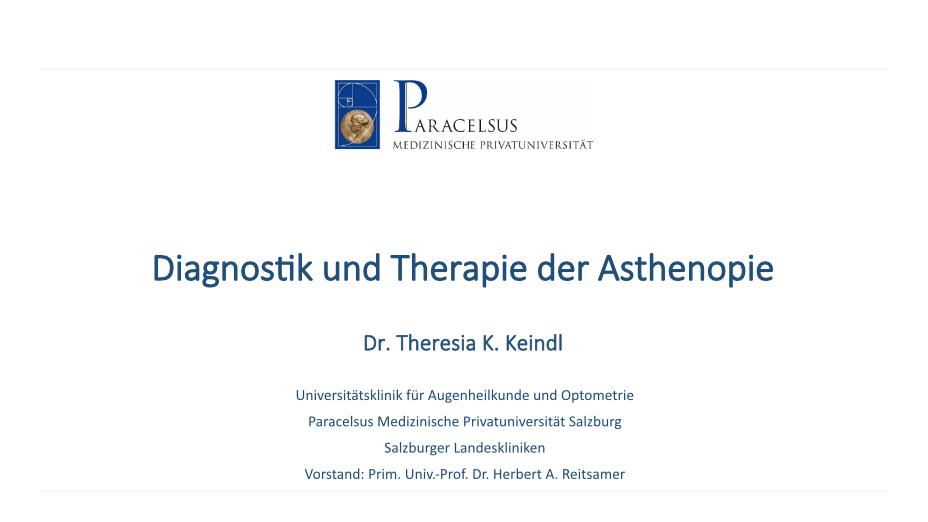 Diagnostik und Therapie der Asthenopie