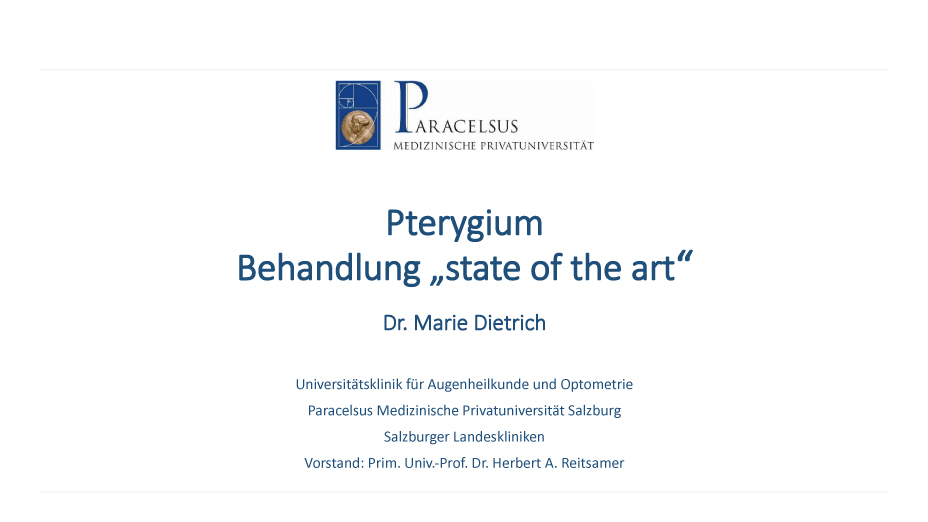"Pterygium Behandlung ""state of the art"""
