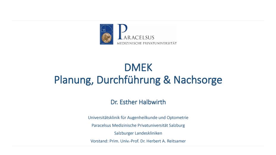 DMEK – Planung, Durchführung & Nachsorge